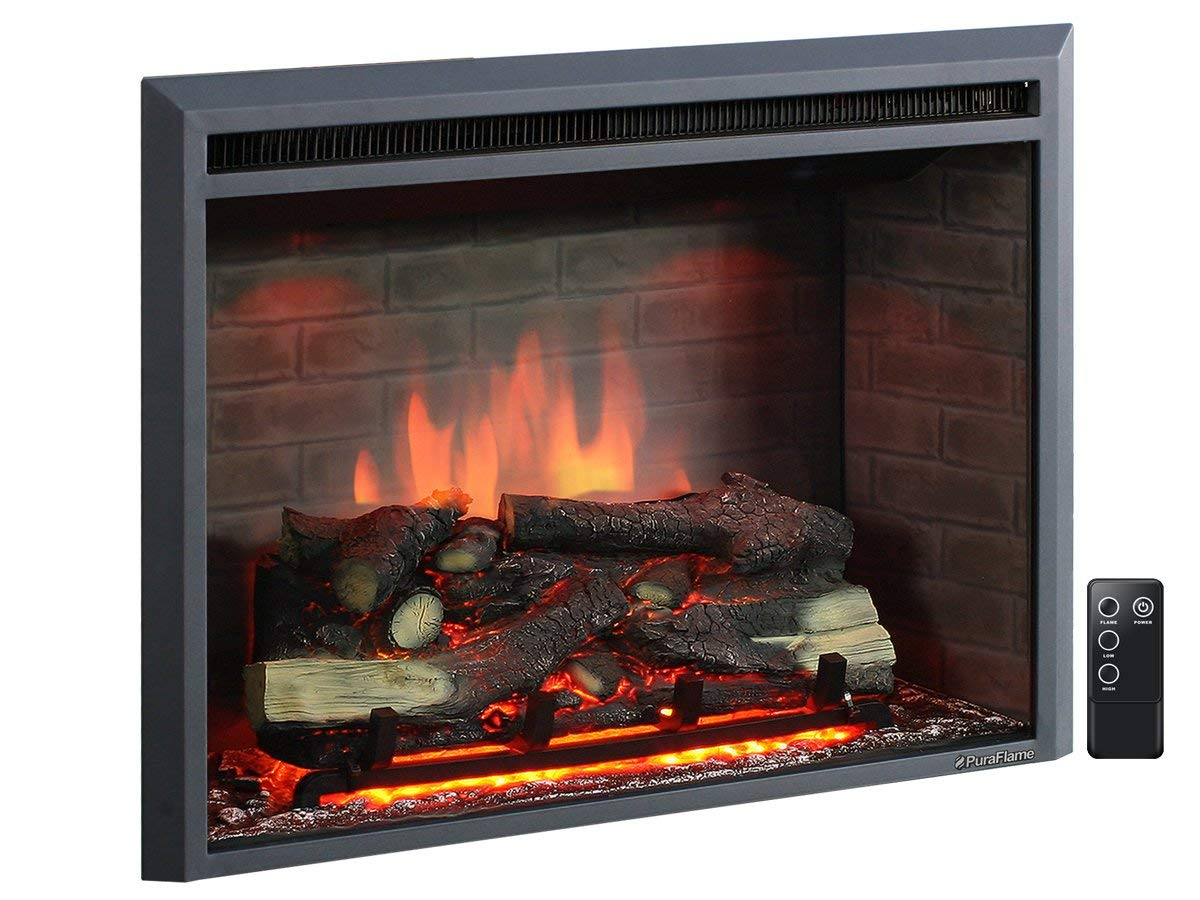 PuraFlame 30 Western Electric Fireplace Insert with Remote Control, 7501500W Black