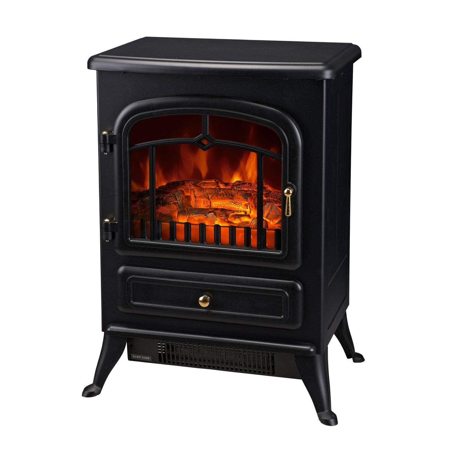 "Homcom 16"" 1500W Free Standing Electric Wood Stove Fireplace Heater"