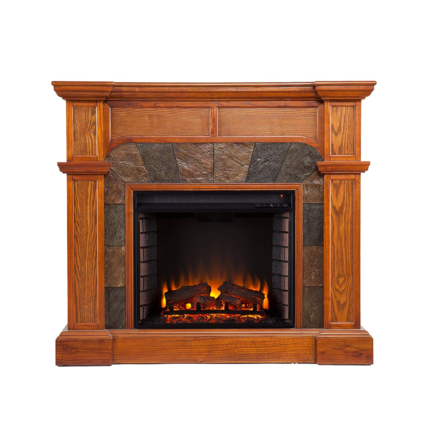 Southern Enterprises Cartwright Convertible Electric Fireplace Mission Oak Finish with Earth ToneTiles
