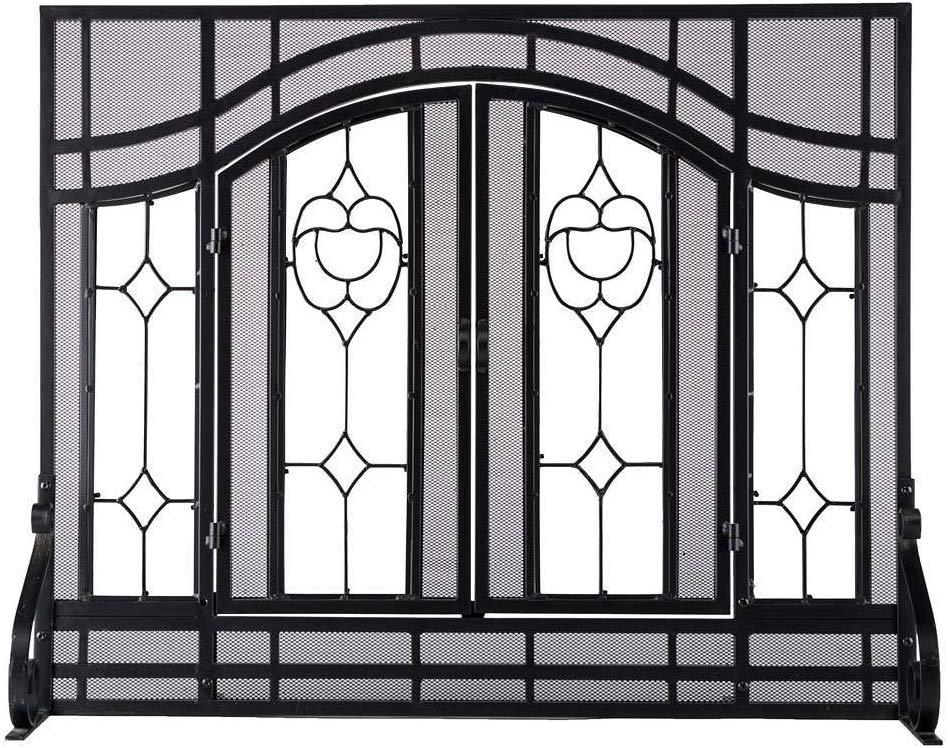 Small Beveled Glass Diamond Fireplace Screen